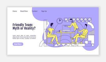 página de inicio del equipo amigable vector