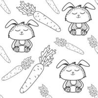 Cute rabbit seamless pattern in doodle style vector