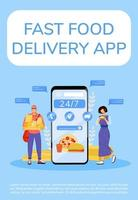 Fast food delivery app poster vector