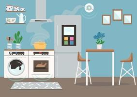piso de cocina inteligente vector