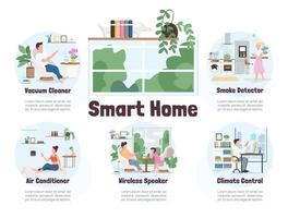 plantillas de infografía de hogar inteligente vector