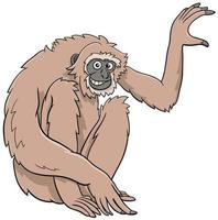 Gibbon ape cartoon wild animal character vector