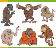 Conjunto de dibujos animados de personajes de animales monos y simios