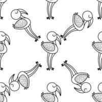 Flamingo bird icon in doodle style. vector