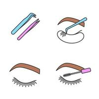 Eyelash extension color icons set. vector