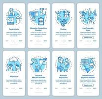 pantalla de la página de la aplicación móvil de incorporación de trastornos mentales vector