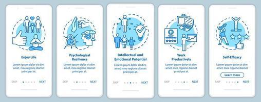 pantalla de la página de la aplicación móvil de incorporación de salud mental vector