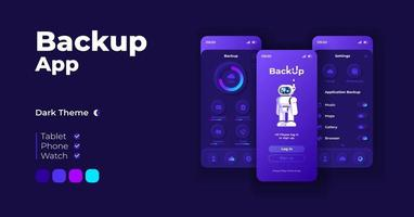 Backup application cartoon smartphone interface templates set. vector