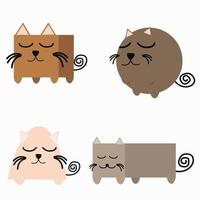 Collection of cats in different geometric shapes vector