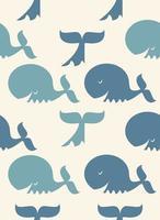 patrón sin fisuras de feliz ballena azul vector
