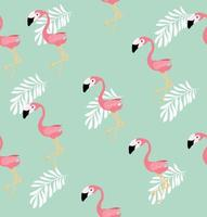 Seamless pattern of pink flamingos and palm leaves