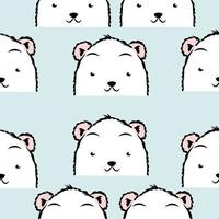 patrón sin fisuras de caras lindas de oso polar vector
