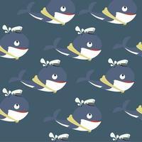 Patrón sin fisuras de linda ballena con sombrero de marinero vector