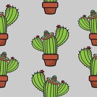 patrón sin fisuras de plantas de cactus vector