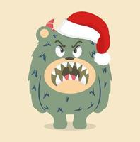 Angry green monster wearing a Santa hat