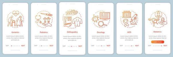 pantalla de la página de la aplicación móvil de incorporación del servicio de enfermería vector