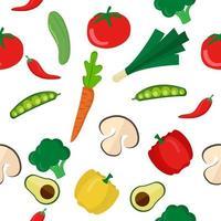 patrón sin fisuras de coloridas verduras saludables vector