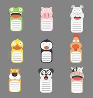 Collection of cute animal heads on banners