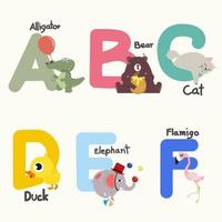 Alphabet letters A to F with matching animals vector