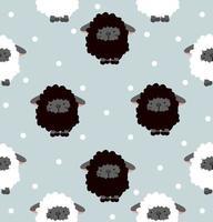 patrón sin costuras de ovejas en blanco y negro