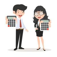 Businessman and businesswoman holding calculators vector