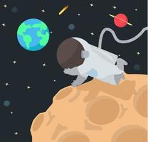 astronauta de dibujos animados flotando a través del espacio y planetas