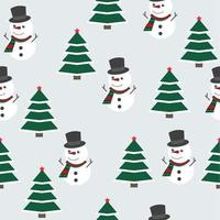 Christmas pattern with snowman and Christmas tree vector