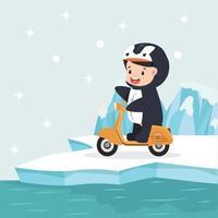 niño disfrazado de pingüino montando scooter en el ártico vector