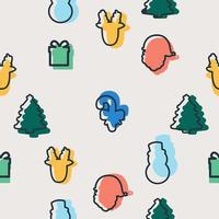 Seamless pattern of colorful Christmas elements