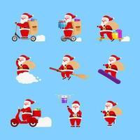 conjunto de diseño de entrega de regalo de navidad de santa claus
