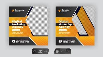 Editable Corporate Social Media Post Template vector
