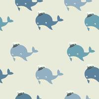 patrón sin fisuras de una linda ballena con un sombrero de marinero vector