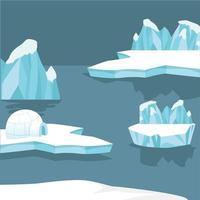 iceberg ártico y montañas vector
