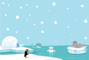 lindo oso polar y fondo de ballena vector