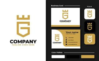Gold business card template vector