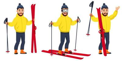 Skier in different poses vector