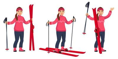 Female skier in different poses vector