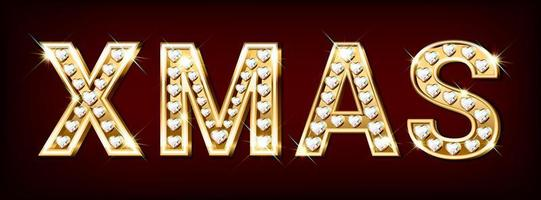 Word xmas made of gold letters with diamonds