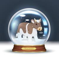 Bull in a snow globe vector