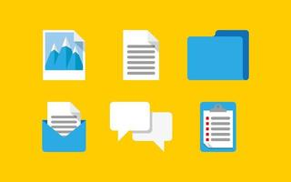 Set of computer icons of email message and documents