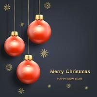 Red Christmas decoration balls banner vector