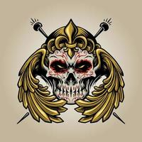 Crown Mexican Sugar Skull Muertos With Wings vector