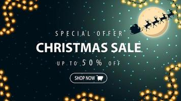 Discount banner with Santa Claus in the sky vector