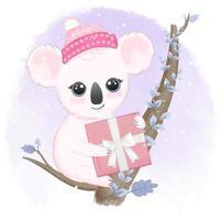 Koala and gift box on the tree vector