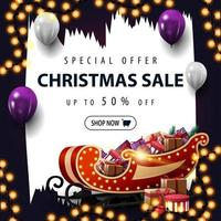 Christmas square discount banner with brush strokes vector