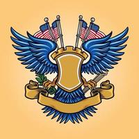 Flag American Badge Mascot