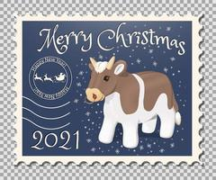 2021 Year of the bull stamp vector