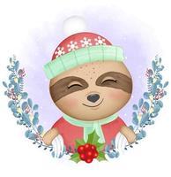 Sloth and Christmas wreath vector