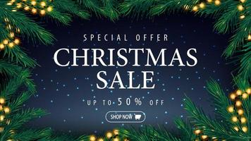 Christmas discount banner with blue starry sky