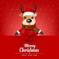 Cute Reindeer on a red background vector
